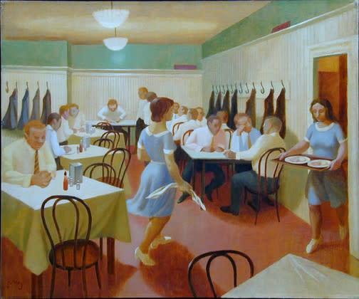 Philip Surrey, C.M., LL.D., R.C.A. (1910-1990)Chez Delmo Oil on canvas 20 x 24 in 50.8 x 61 cm