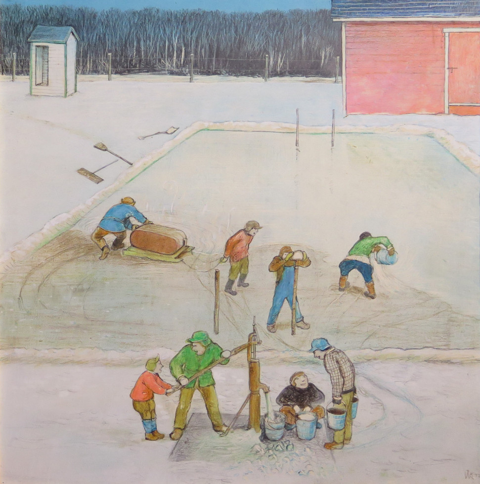 William Kurelek, R.C.A., O.S.A. 1927-1977Rink Making - Frabique de glace, 1971 Signed, Dated Mixed media - Media mixte 14 x 14 Width: 14 Height: 14