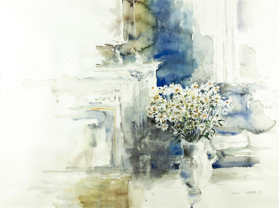 Molly Lamb Bobak, Watercolour with Daisies