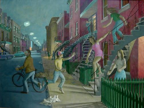 Philip Surrey, C.M., LL.D., R.C.A. 1910-1990Teenagers - Adolescents, 1973 Oil 30 x 40 in 76.2 x 101.6 cm
