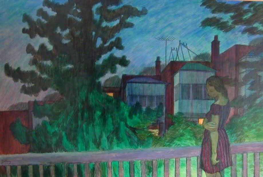 Philip Surrey, C.M., LL.D., R.C.A. 1910-1990Back Verandah, Grosvenor Street - La véranda arrière, rue Grosvenor, 1966 Oil on masonite 32 x 48 in 81.3 x 121.9 cm