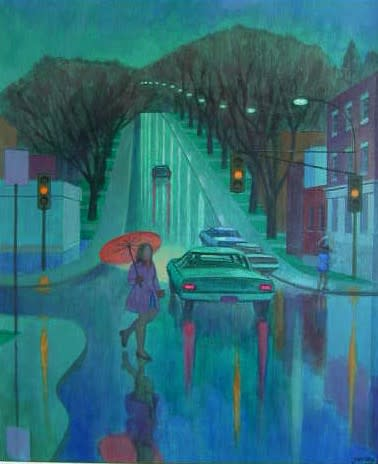 Philip Surrey, C.M., LL.D., R.C.A. 1910-1990Grosvenor & Sherbrooke, the Pink Umbrella - Rues Grosvenor et Sherbrooke, la parapluie rose, 1972 Oil on canvas 32 x 24 in 81.3 x 61 cm