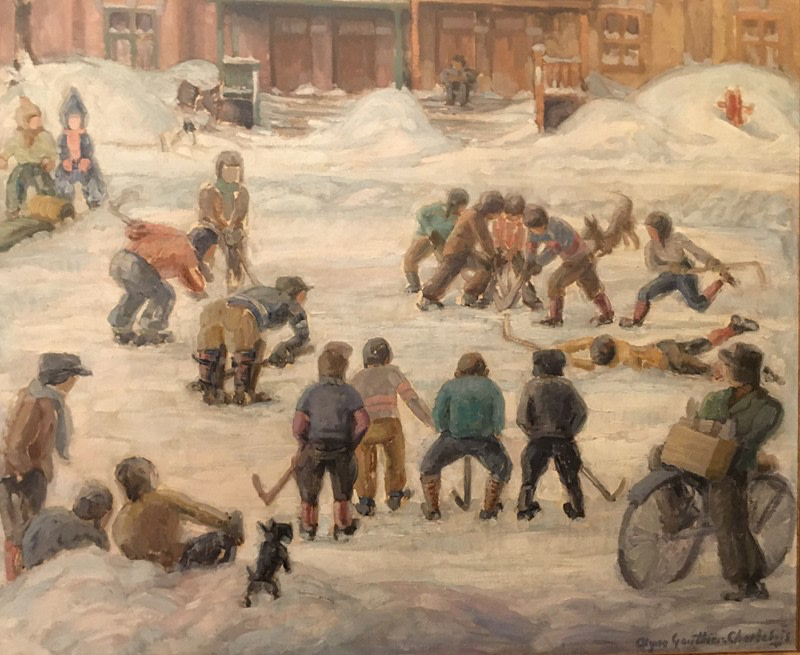 Alyne Gauthier-Charlebois 1908-1955Street Hockey - Hockey de ruelle, 1941 Signed, Dated Oil on masonite - Huile sur isorel 30 1/2 x 35 1/2 Width: 35.5 Height: 30.5