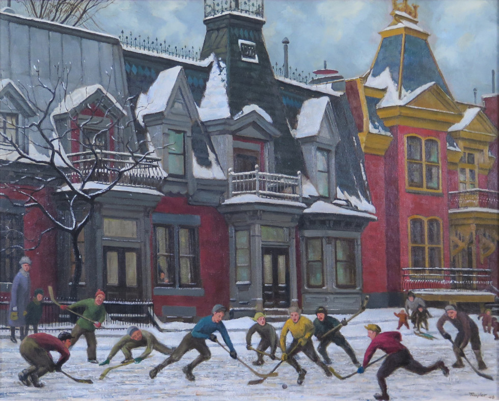 Frederick B. Taylor, R.C.A., Hockey on Henri-Julien Street at Pine Ave. East, Montreal, 1948 Oil on canvas - Huile sur toile 24 x 30 in 61 x 76.2 cm