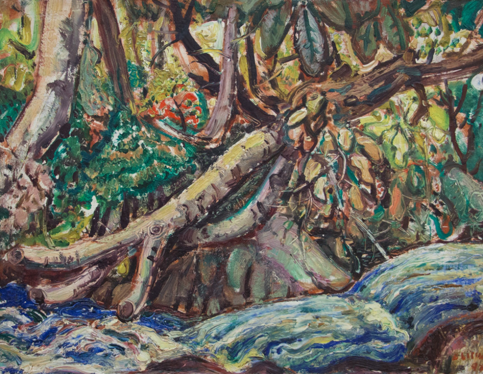 Arthur Lismer, LL.D, R.C.A., O.S.A. 1885-1969Forest Stream - Ruisseau forestier, 1947 Signed, Dated Oil on panel - Huile sur panneau 12 x 15 1/2 in 30.5 x 39.4 cm