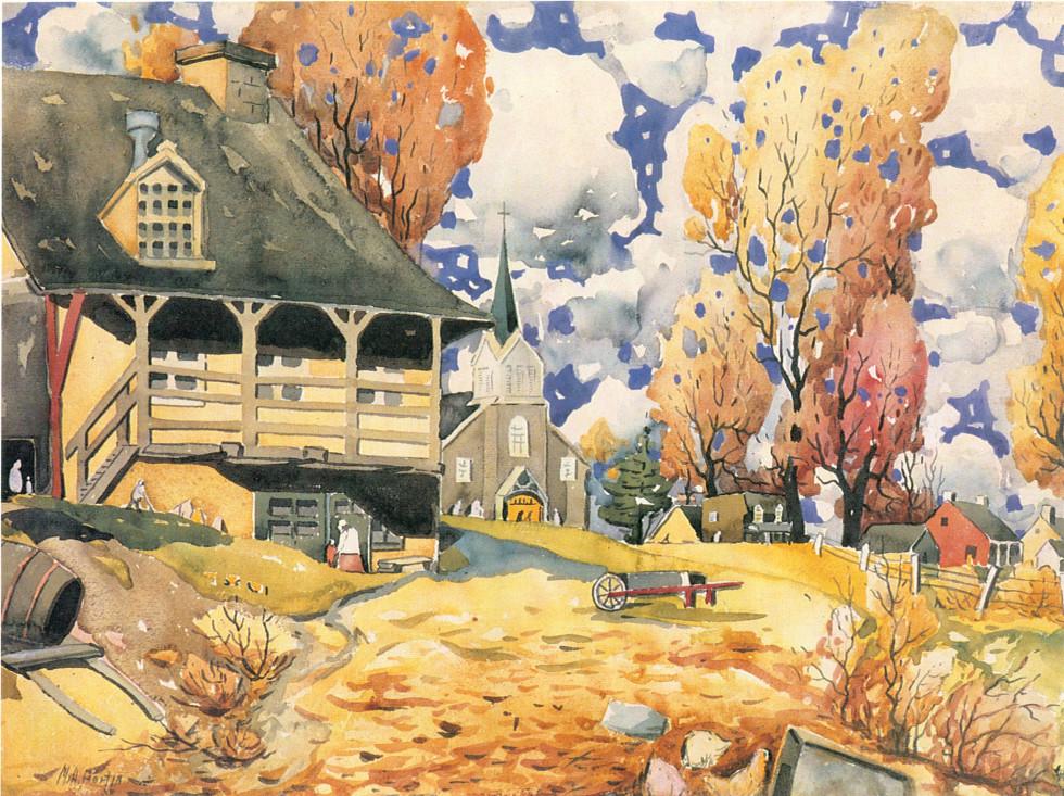 """Marc-Aurèle Fortin, A.R.C.A. 1888-1970Automne, Laval-des-Rapides, 1921 (circa) Watercolour 22"""" x 30"""""""