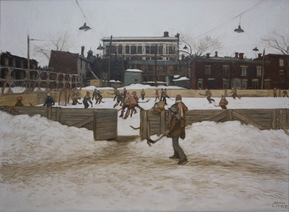 John Little, R.C.A., Skating Rink at rue Ste. Rose and Champlain - Montréal d'autrefois - before Édifice Channel 10, 1979 Oil on canvas - Huile sur toile 30 x 40 in 76.2 x 101.6 cm