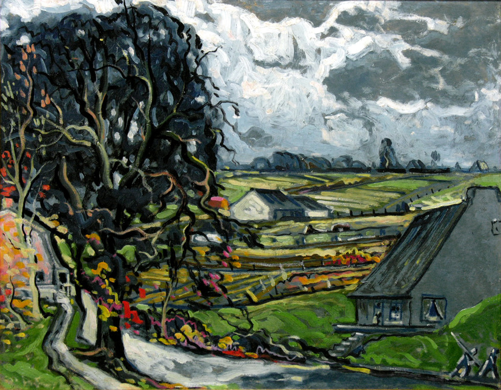 Marc-Aurèle Fortin, A.R.C.A. 1888-1970Village de campagne, Québec Oil on masonite 22 x 28 in 55.9 x 71.1 cm