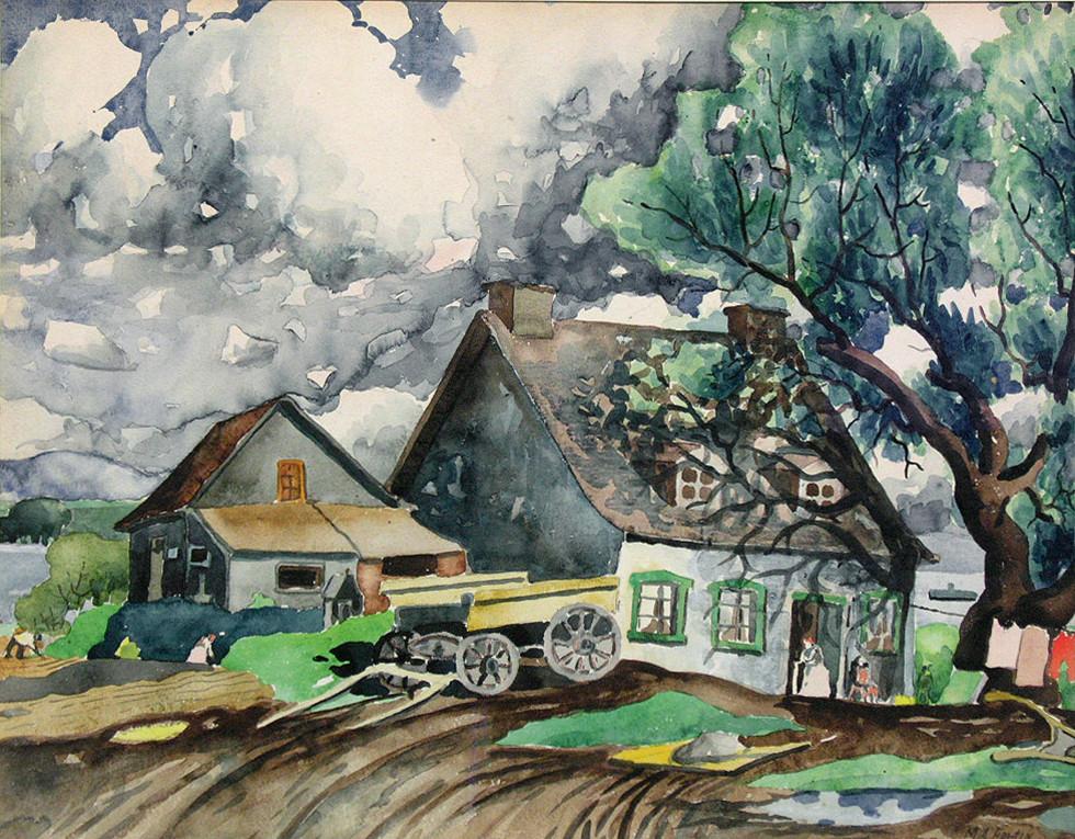 """Marc-Aurèle Fortin, A.R.C.A. 1888-1970Ferme à St-Eustache Watercolour 22"""" x 28"""""""