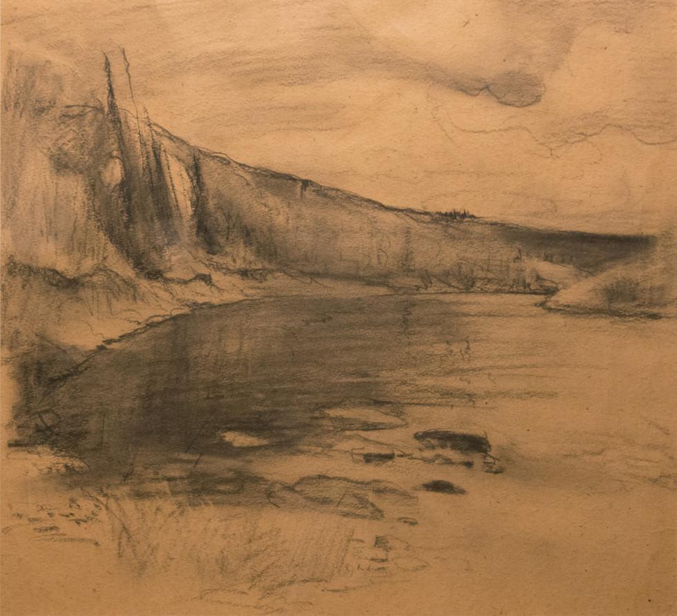 René Richard, C.M., R.C.A., Solitude. Grand Nord Canadien Charcoal drawing on paper - Dessin au fusain sur papier 15 3/4 x 18 in 40 x 45.7 cm