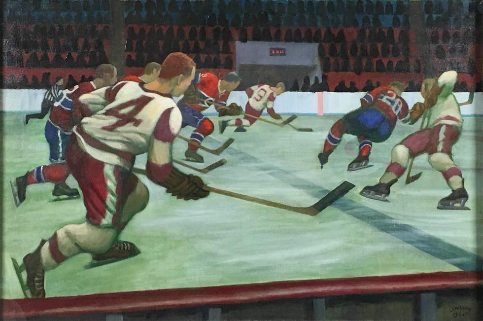 """Philip Surrey, R.C.A. 1910-1990Detroit versus Canadiens - Détroit versus Canadiens, 1960 Signed, Dated Oil on canvas - Huile sur toile 30 1/8"""" x 20 3/4"""" Width: 20.75 Height: 30.13"""