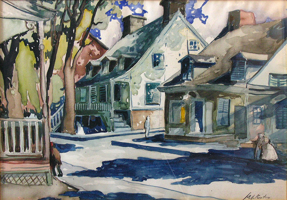 """Marc-Aurèle Fortin, A.R.C.A., Rue de village avec personnages Watercolour  19"""" x 27 ½"""""""