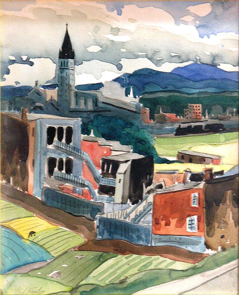 """Marc-Aurèle Fortin, A.R.C.A., Hochelaga Watercolour  13"""" x 10 ½"""""""