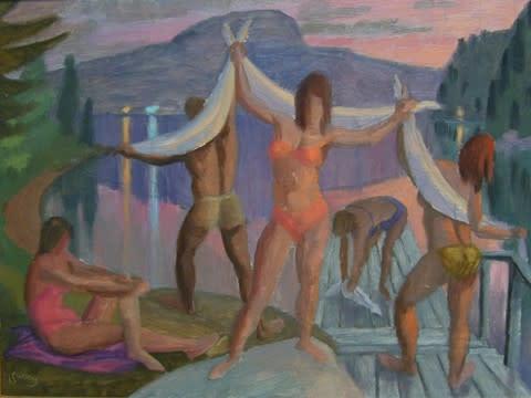 Philip Surrey, C.M., LL.D., R.C.A. 1910-1990Bathers, Eastern Townships - Les baigneurs, Cantons de l'Est Oil on masonite 12 x 16 in 30.5 x 40.6 cm