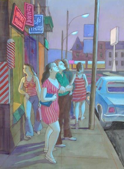 """Philip Surrey, C.M., LL.D., R.C.A. 1910-1990Study for End of Summer (Fairmount Street near Park Avenu) - Étude pour """"Fin de l'été (Rue Fairmount près de l'avenue du Parc)"""", 1974 Pastel & gouache 24 x 32 in 61 x 81.3 cm"""