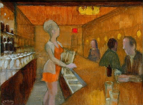 Philip Surrey, C.M., LL.D., R.C.A. 1910-1990Bar Scene - Au bar, 1964 Oil on masonite 6 x 8 in 15.2 x 20.3 cm