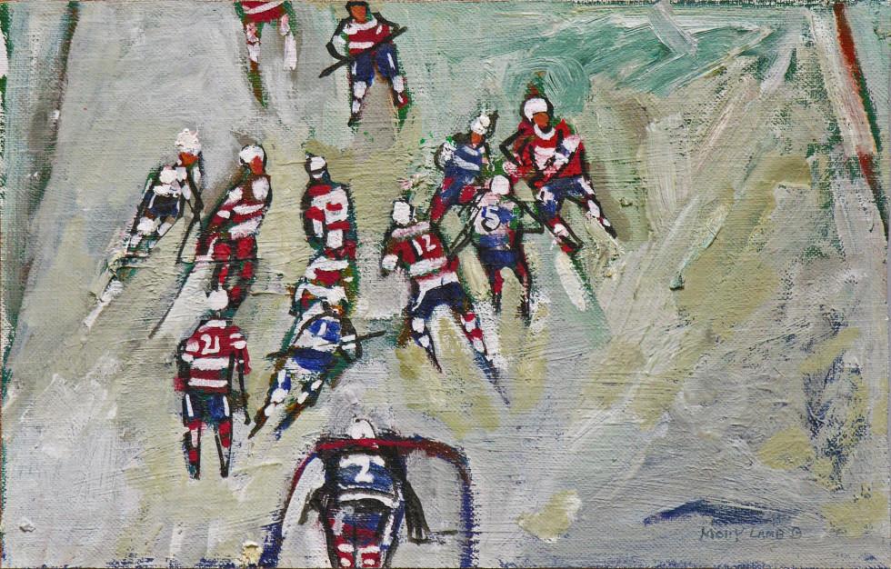 Molly Lamb Bobak, C.M., O.N.B., R.C.A. 1920-2014Hockey Game - La partie de hockey Oil on canvas board - Huile sur toile marouflée sur carton 7 x 11 Width: 11 Height: 7