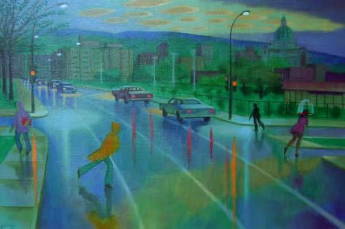 Philip Surrey, C.M., LL.D., R.C.A. (1910-1990)Decelles et Jean Brillant - Rue Decelles à Jean Brillant Oil on canvas 16 x 24