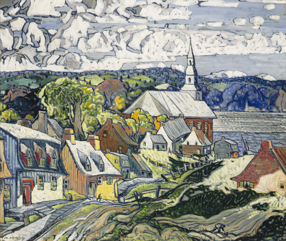 Marc-Aurèle Fortin Landscape, St. Laurent, Île d'Orléans, 1938 or 1939 Oil on hardboard 38 1/2 x 48 in 97.8 x 121.9 cm