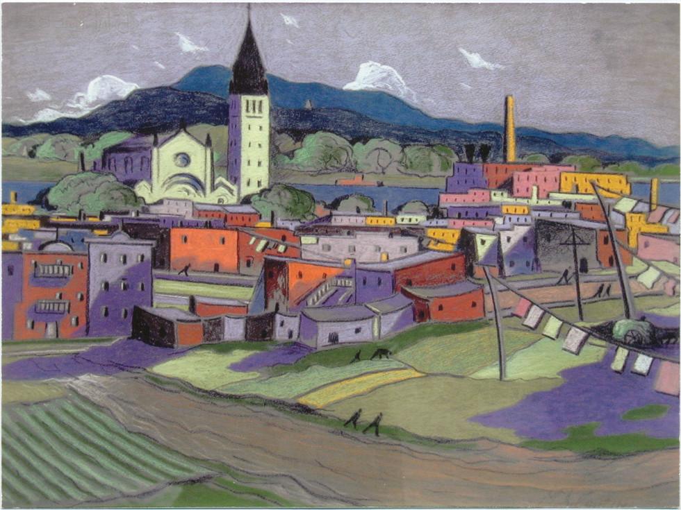 Marc-Aurèle Fortin, A.R.C.A. 1888-1970Hochelaga Pastel 19 x 25 in 48.3 x 63.5 cm