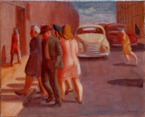 Philip Surrey, C.M., LL.D., R.C.A. 1910-1990Crossing the Street - Traversant la rue, 1940 (circa) Oil on canvas 13 x 16 in 33 x 40.6 cm