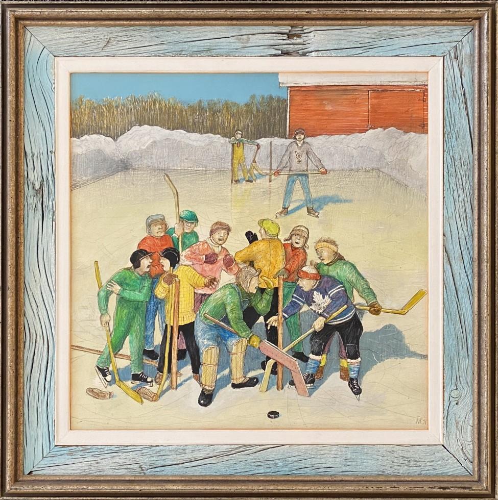 "William Kurelek From ""A Prairie Boy's Winter"" series ""Hockey Hassles"", 1971 Mixed media 14 x 14 in 35.6 x 35.6 cm"