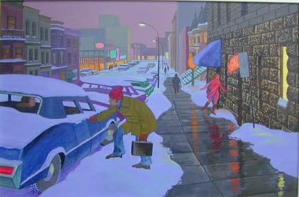 Philip Surrey, C.M., LL.D., R.C.A. 1910-1990Crescent Street, Winter - Hiver, rue Crescent, 1977 Oil on canvas 16 x 24 in 40.6 x 61 cm