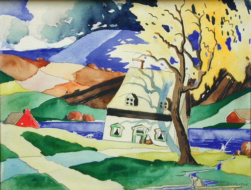 """Marc-Aurèle Fortin, A.R.C.A. 1888-1970Saint-Urbain Watercolour 10 ¼"""" x 13"""""""