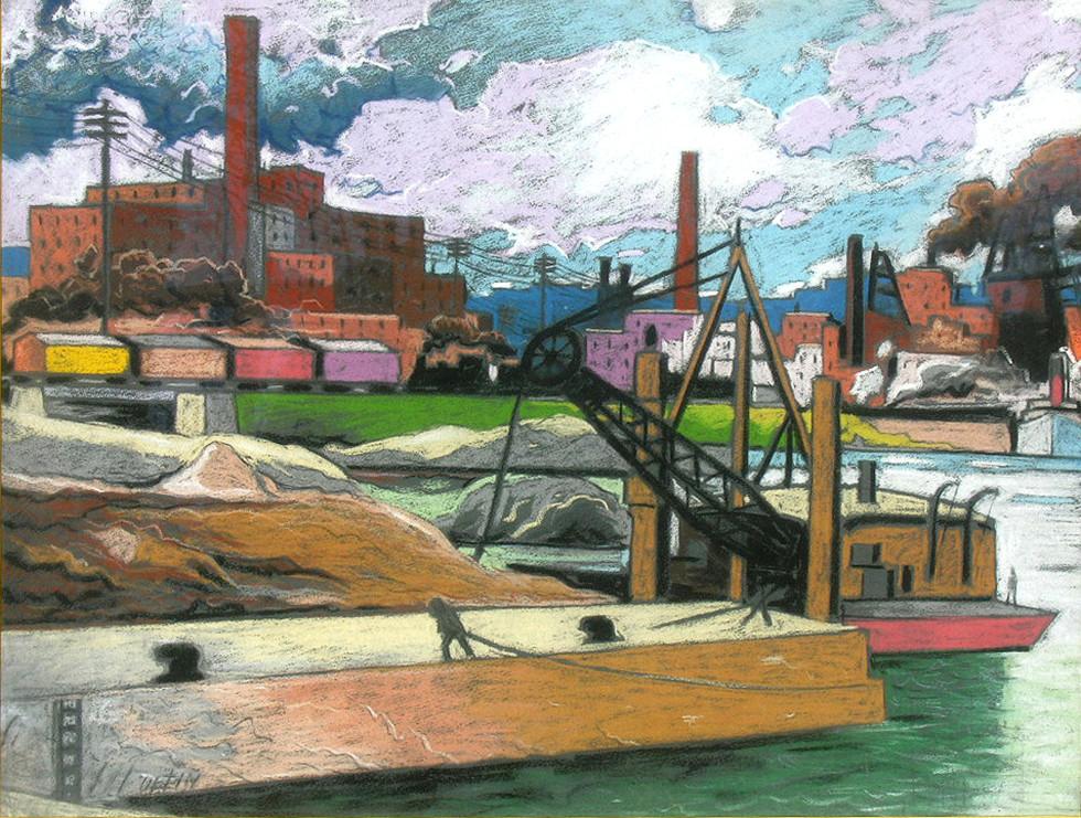 """Marc-Aurèle Fortin, A.R.C.A. 1888-1970Le port, Montréal Pastel 19"""" x 24 ½"""""""