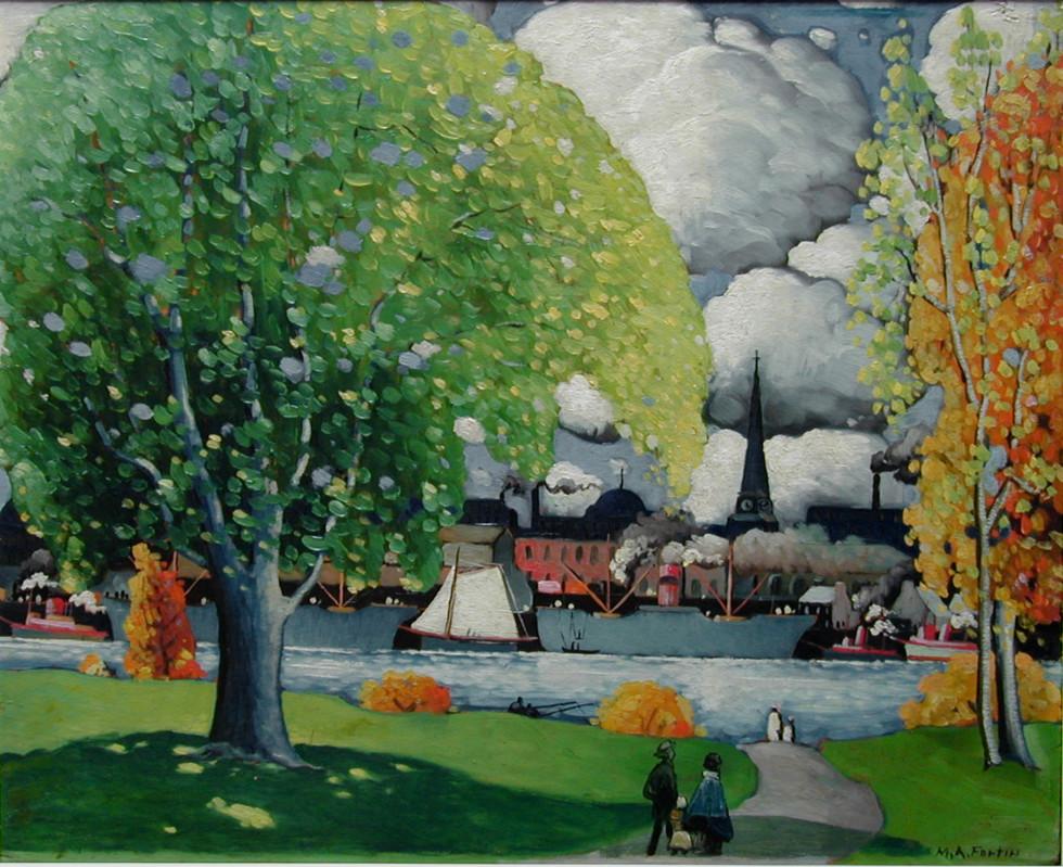 """Marc-Aurèle Fortin, A.R.C.A. 1888-1970Vue de l' Île Sainte-Hélène, 1924 (circa) Oil on panel 24"""" x 29 ½"""""""