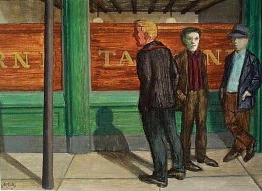 Philip Surrey, C.M., LL.D., R.C.A. 1910-1990Corner Boys - Les hommes du coin, 1960 (circa) Oil 12 x 16 in 30.5 x 40.6 cm