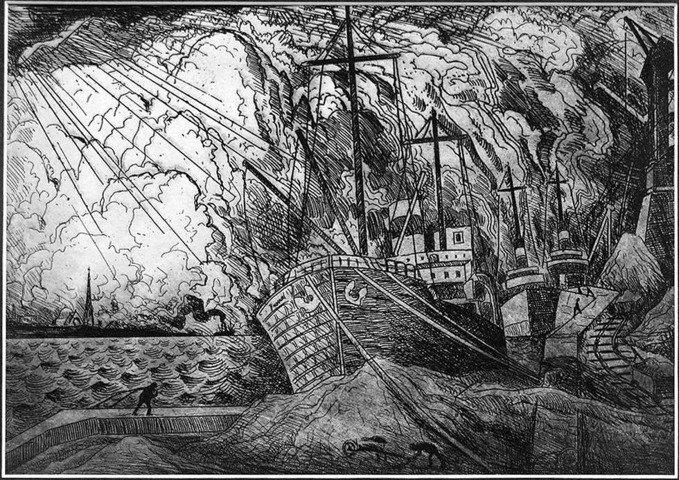 """Marc-Aurèle Fortin, A.R.C.A. 1888-1970Le port, Montréal Etching 7"""" x 10"""""""