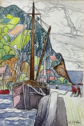 """Marc-Aurèle Fortin, A.R.C.A., Berthing, Tadoussac, P.Q., 1942 (circa) Watercolour  23"""" x 15"""""""