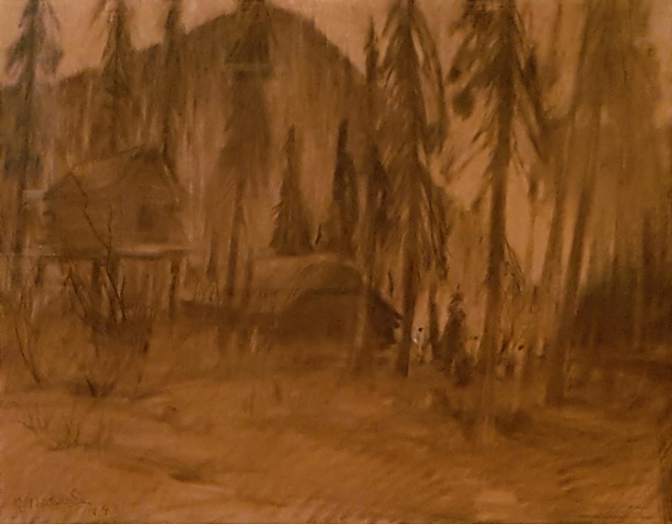 René Richard, C.M., R.C.A., Untitled (Dessin 2), 1943 Dry medium on paper (probably charcoal) - Technique sèche sur papier (probablement du fusain)