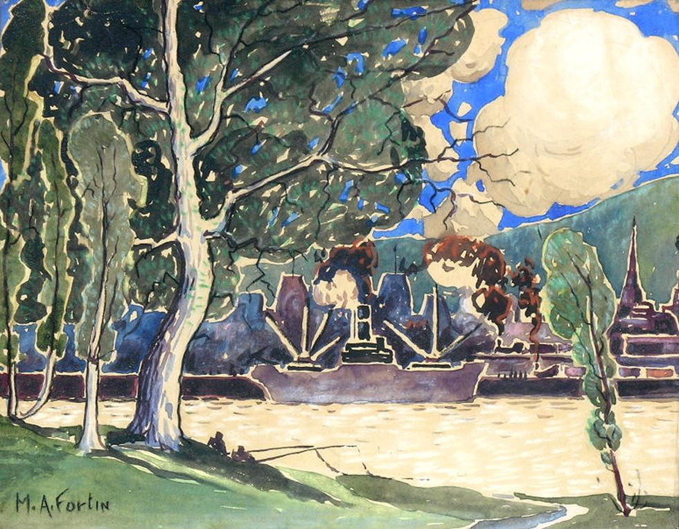 """Marc-Aurèle Fortin, A.R.C.A. 1888-1970Vue de l'Île Ste-Hélène Watercolour 10"""" x 12 ½"""""""