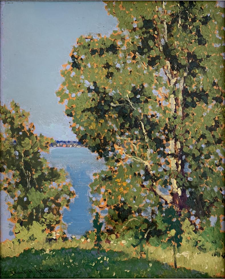 Francis Hans (Frank/Franz) Johnston, A.R.C.A., O.S.A., Summer, Kenora, 1921 (circa) Oil on Beaverboard - Huile sur Beaverboard 13 1/8 x 10 1/2 in 33.3 x 26.7 cm