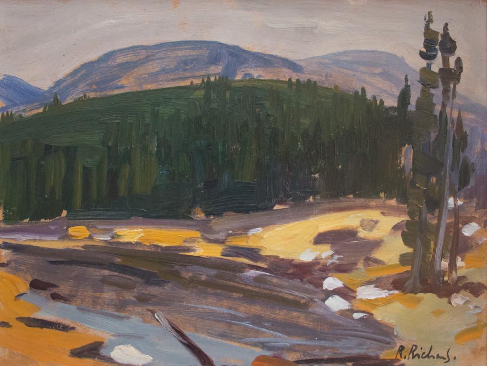 René Richard, C.M., R.C.A., Laurentian Park - Parc des Laurentides Oil on panel - Huile sur panneau 12 x 16 in 30.5 x 40.6 cm