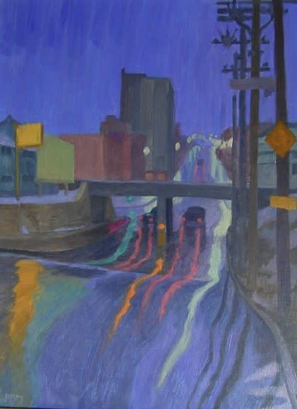 Philip Surrey, C.M., LL.D., R.C.A. 1910-1990Decarie, Montreal, 1969 Oil 16 x 12 in 40.6 x 30.5 cm