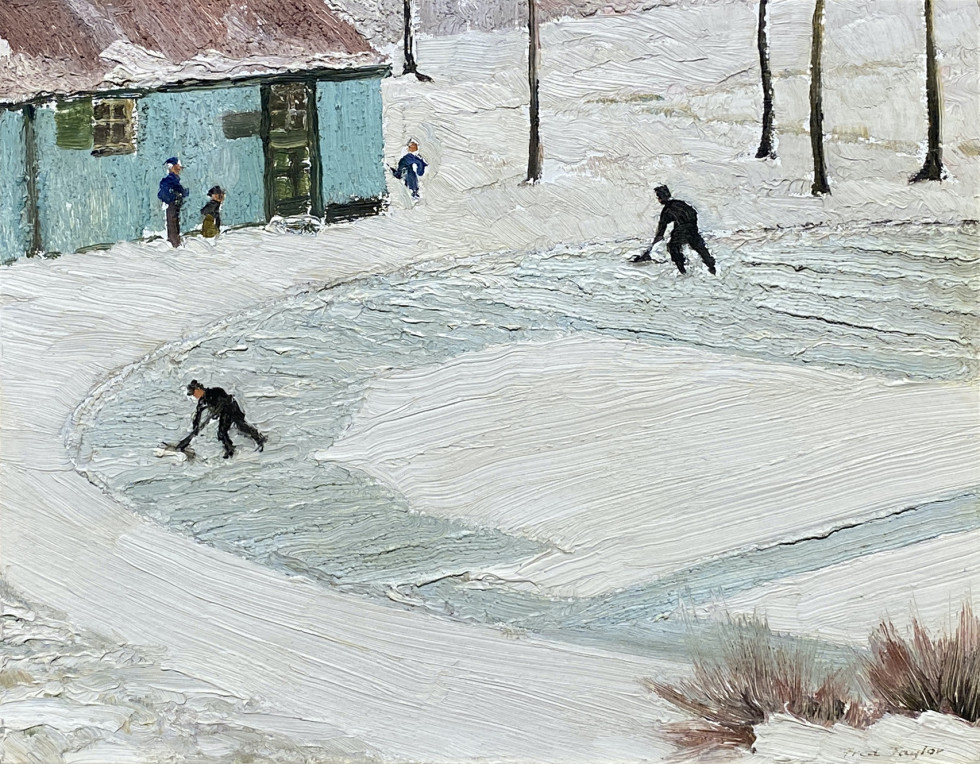 Frederick B. Taylor, Cleaning The Ice, Beaver Pond - Mt. Royal, 1949 (December 22)