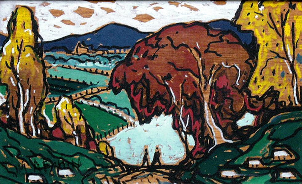 """Marc-Aurèle Fortin, A.R.C.A. 1888-1970Paysage sans titre (possiblement La Fresnière), 1955 (circa) Oil on panel 8 ½"""" x 13 ¾"""""""