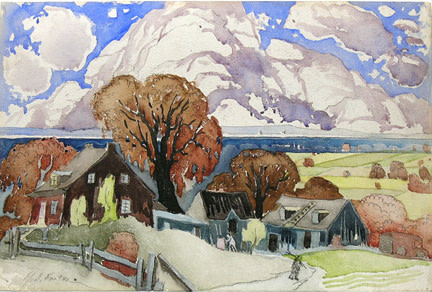 """Marc-Aurèle Fortin, A.R.C.A. 1888-1970Paysage canadien, 1928 Watercolour 13 ¾"""" x 19 ¾"""""""