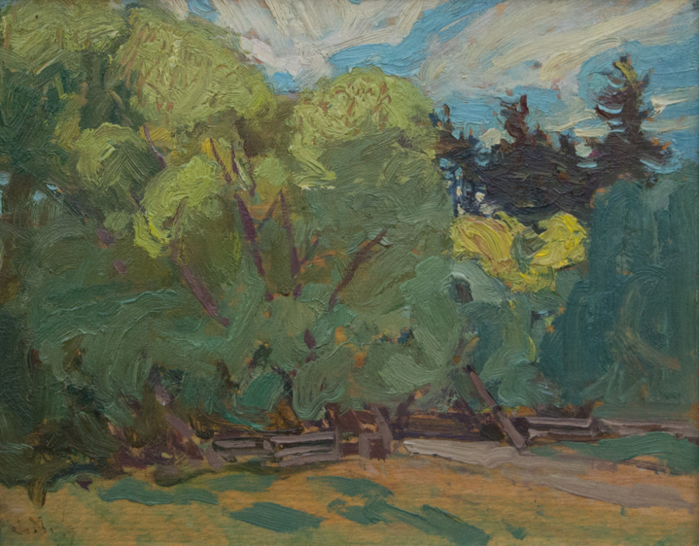 J.E.H. MacDonald, R.C.A., O.S.A. 1873-1932York Mills, 1919 Signed, Dated Oil on panel - Huile sur panneau 8 1/2 x 10 1/2 in 21.6 x 26.7 cm