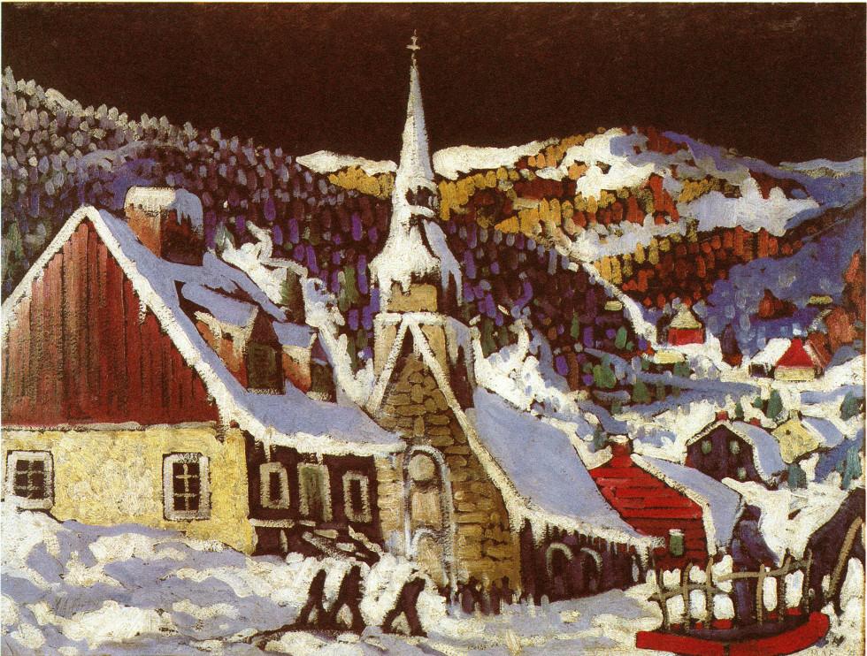 """Marc-Aurèle Fortin, A.R.C.A., La messe de minuit, Les Eboulements Oil on panel  22 ½"""" x 30 ¼"""""""