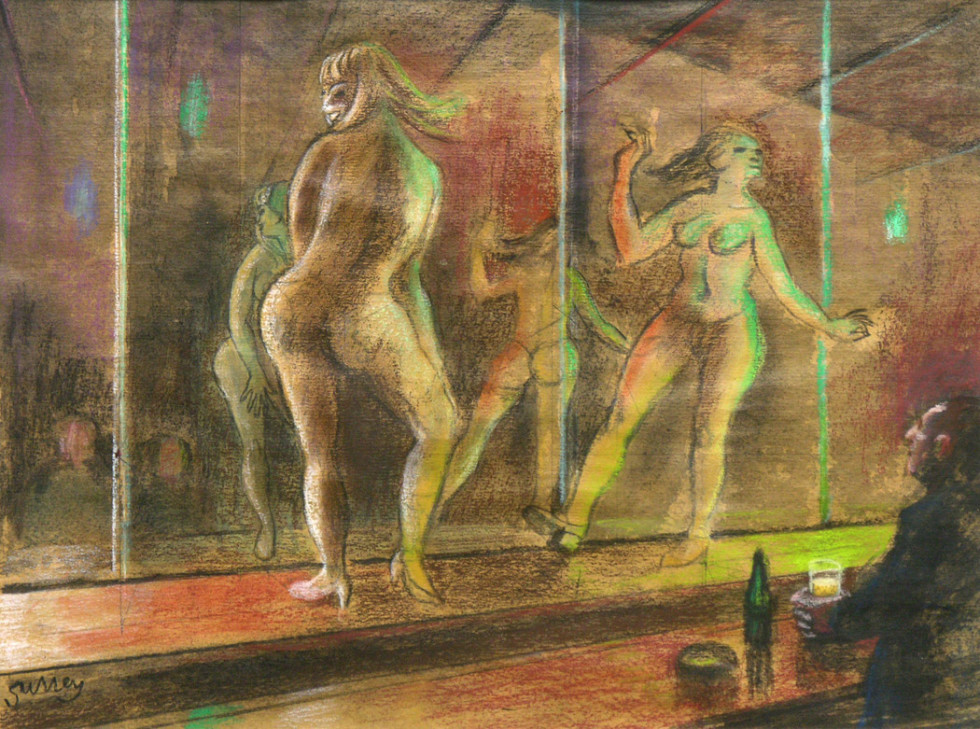 Philip Surrey, C.M., LL.D., R.C.A. 1910-1990Exotic Dancers - Danseuses exotiques Mixed media - Media mixte 11 1/2 x 15 1/2 in 29.2 x 39.4 cm