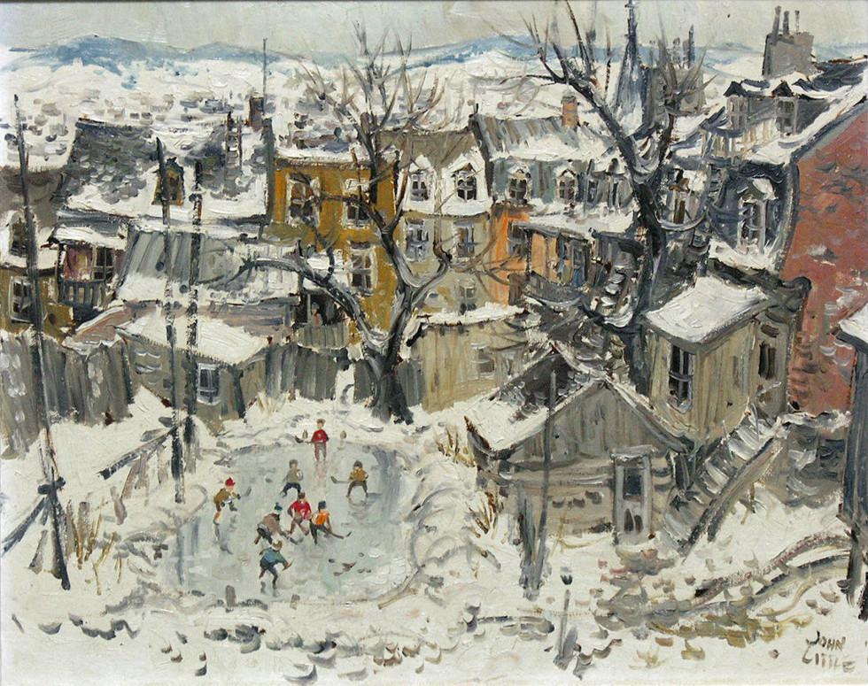 John Little, R.C.A. Hockey rue d'Artillerie, Québec, 1960 Signed, Dated Oil on canvas board - Huile sur toile marouflée sur carton 16 x 20 Width: 20 Height: 16