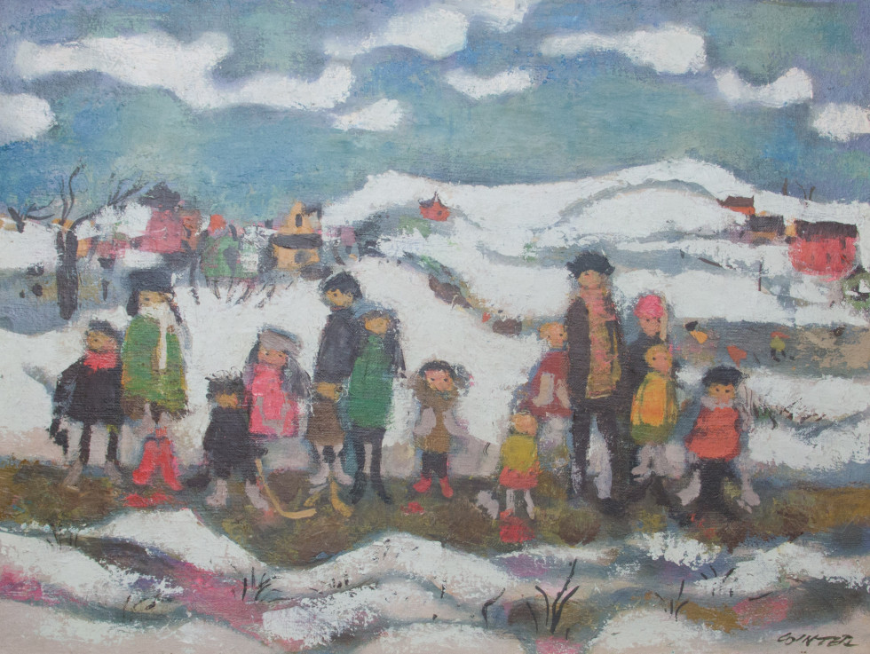William Winter, O.S.A., R.C.A. 1909-1996Skating Kids, 1988 Signed, Dated Oil on canvas board - Huile sur toile marouflée sur carton 16 x 20 Width: 20 Height: 16