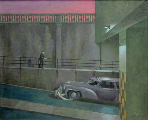 Philip Surrey, C.M., LL.D., R.C.A. 1910-1990 Impaled Man - Homme écorné, 1954 Oil on canvas 20 x 24 in 50.8 x 61 cm