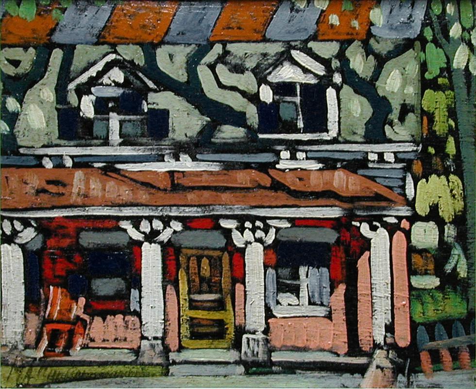 """Marc-Aurèle Fortin, A.R.C.A., Maison de ferme à Ste-Rose, 1935 (circa) Oil on panel  10"""" x 12"""""""