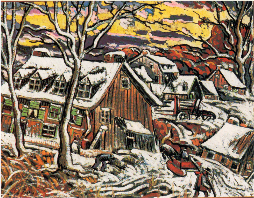 "Marc-Aurèle Fortin, A.R.C.A. 1888-1970Paysage près de Sainte-Rose, 1937 (circa) Oil on board 23 ½"" x 30"""