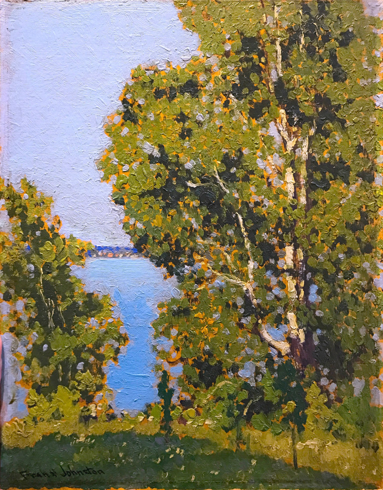 Francis Hans (Frank/Franz) Johnston, A.R.C.A., O.S.A. 1888-1949Summer Kenora, 1922 Signed, Circa Oil on panel - Huile sur panneau 13 1/8 x 10 1/2 in 33.3 x 26.7 cm